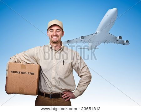 smiling delivery man and cargo airplane