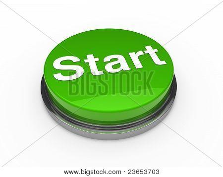 3D Button Start Green