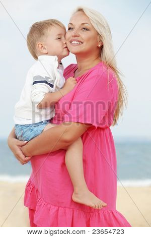 Young mother with her little son