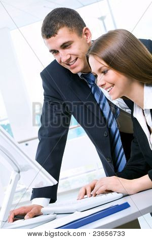 Two business people working in the office