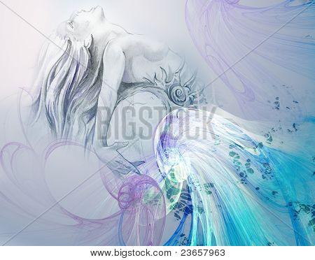Paint of a mermaid.