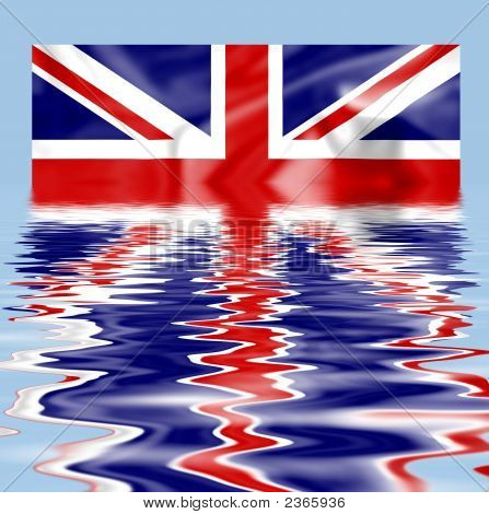 British Union Jack Flag Submerged And Reflecting In Water