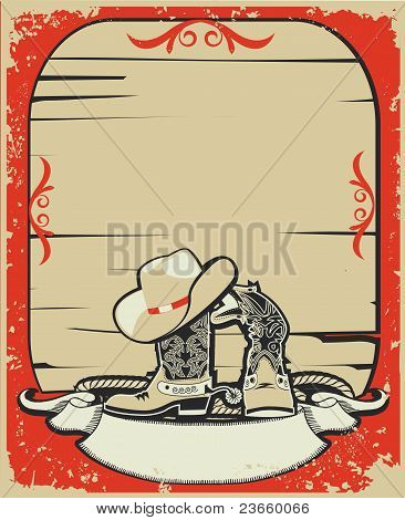 Cowboy Elements.red Background With Grunge Elements Decoration