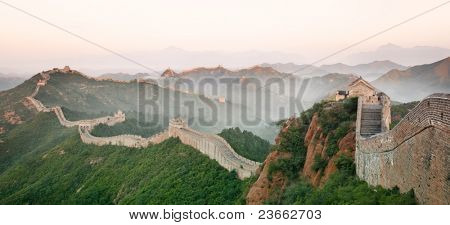 Great Wall of China in mist