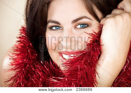 Woman With Red Tinsel