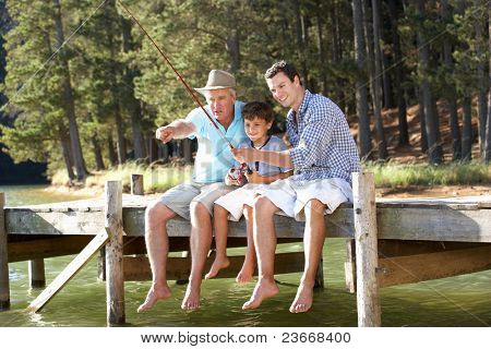 Father,son and grandson fishing together
