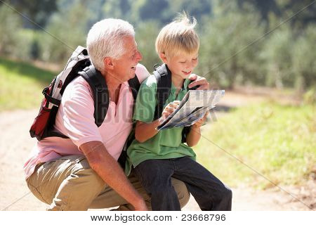 Senior man reading map with grandson on country walk