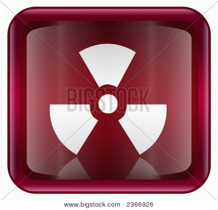 Radioactive Icon, Red, Isolated On White Background