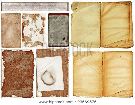 collection of old grunge papers with many textures.