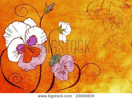 hand drawn illustration of viola flower on grunge orange paint texture .