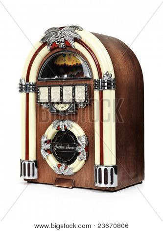 Retro juke box radio isolated on white background