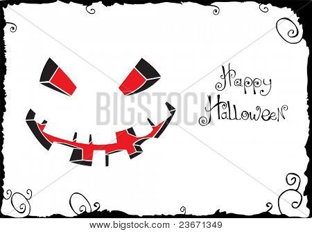 Vector scary face on white (Halloween illustration)