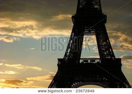 Eiffel tower closeup during sunset