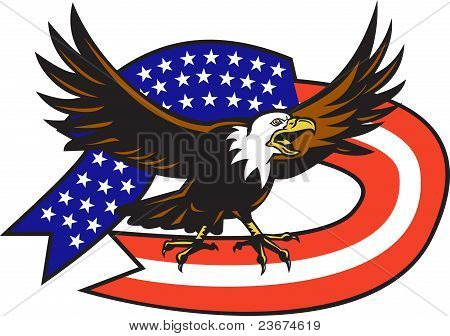 American Bald Eagle Screaming With Usa Flag
