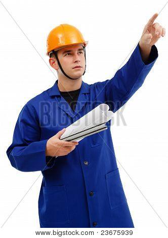 Engineer Pointing Upwards