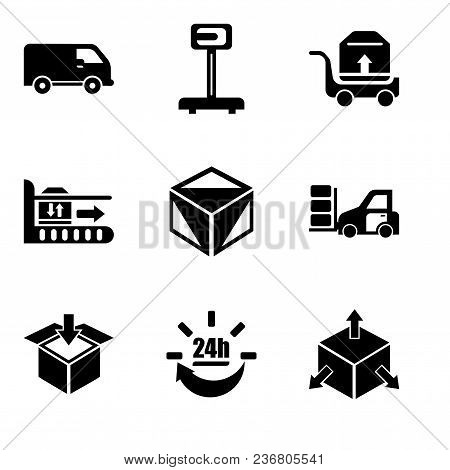 poster of Set Of 9 Simple Editable Icons Such As Delivery Cube Box Package With Four Arrows In Different Direc