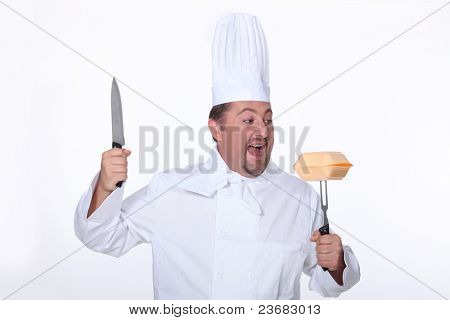 Angry chef attacking fast-food packaging