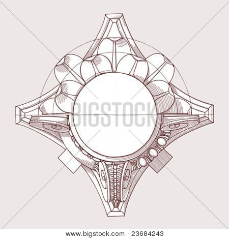 "Chapiter- hand draw sketch composite architectural order based ""The Five Orders of Architecture"" is a book on architecture by Giacomo Barozzi da Vignola from 1593. Vector illustration."