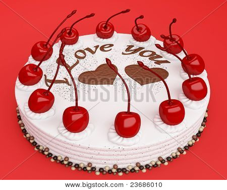 Celebration: Cake With Cherries On Red