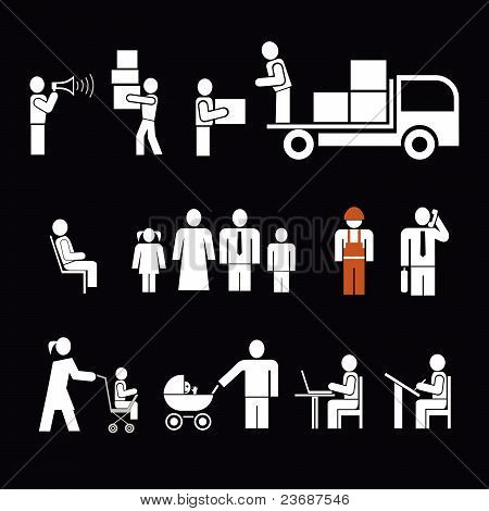 People Ar Work - Set Of Vector Icons