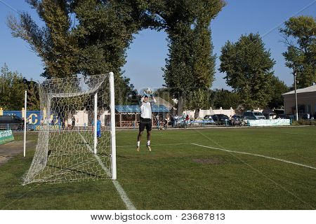 Goalkeeper Warming Up Before The Match