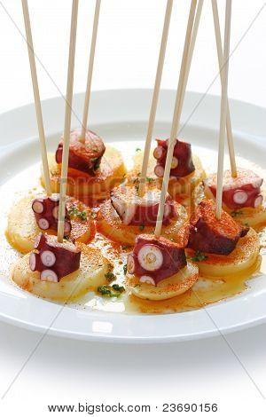 octopus galician style (pulpo a la gallega) , spanish tapas