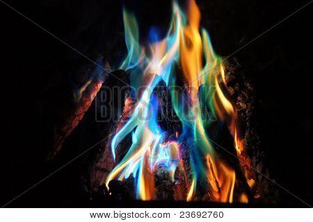 Blau und Orange geflammt Feuer