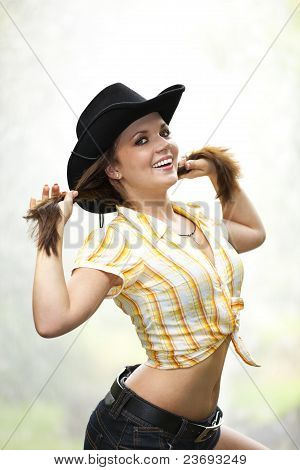 smiling woman tearing her hair
