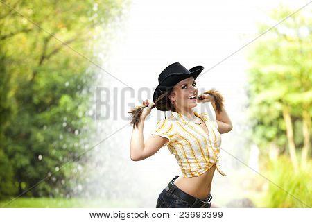 smiling woman tearing her hair