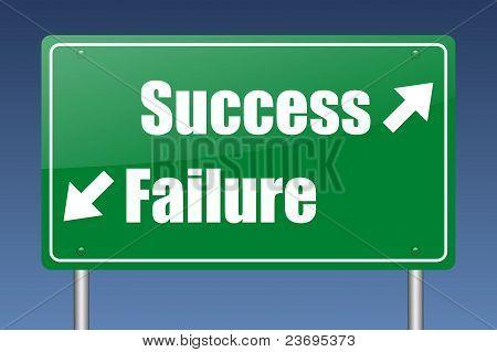 success - failure green road sign