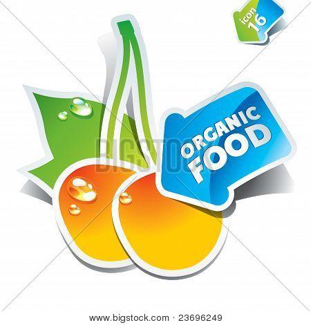 Symbol-Kirschen mit dem Pfeil von Bio-Lebensmitteln.
