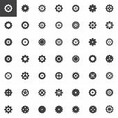 Gear Vector Icons Set, Modern Solid Symbol Collection Filled Style Pictogram Pack. Signs Logo Illust poster