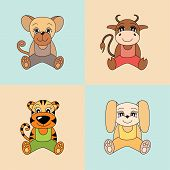 Rat, Ox, Tiger, Rabbit, Symbols Of The Chinese Horoscope 2020, 2021, 2022 And 2023 Years. Cute Anima poster