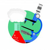 Scientific Experiment Icon. Vector Scientific Test With Toxic Substance, Development Pharmacy And Bi poster