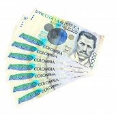 stock photo of colombian currency  - Pesos currency of the country of Colombia - JPG
