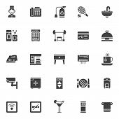 Hotel Vector Icons Set, Modern Solid Symbol Collection, Filled Style Pictogram Pack. Signs, Logo Ill poster