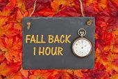 Fall Time Change Message, Fall Back 1 Hour Message On A Chalkboard With Retro Pocket Watch And Fall  poster
