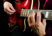Guitarist Hands And Guitar Close Up. Playing Electric Guitar. Play The Guitar. poster