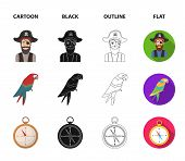 Pirate, Bandit, Hat, Bandage .pirates Set Collection Icons In Cartoon, Black, Outline, Flat Style Ve poster
