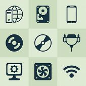 Hardware Icons Set With Wifi, Global Connection, Hard Disk And Other Wireless Elements. Isolated Vec poster