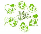 Set Of Earth Day Lettering With A Beautiful Woman. Ecology Concept With Earth. The Logo Of The Earth poster