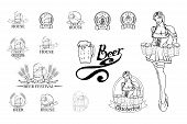 Set Of Different Beer Elements. Beer Festival. Brewery Emblem And Beer Logo. Beer Glass. poster