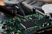 Closeup Of Soldering Of Electronic Circuit Board. Electronic Manufacturing And Repair Concept With S poster