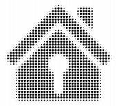 Home Keyhole Halftone Vector Icon. Illustration Style Is Dotted Iconic Home Keyhole Icon Symbol On A poster