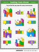 Educational Math Puzzle: Find The Top View For Each Of The Toy Building Blocks Constructions. Answer poster