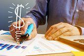 Profit Concept. Businessmen Checking Financial Charts. Business Success. poster