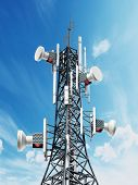 Steel Telecommunications Tower With Satellite Dishes. 3d Illustration. poster