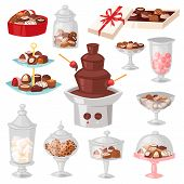 Chocolate Candy Vector Sweet Confection Dessert With Cocoa In Glass Jar In Confectionery Shop Illust poster