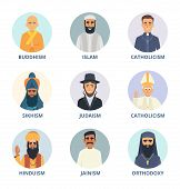 Round Avatars Set With Pictures Of Religion Leaders. Religion Sikhism And Judaism, Buddhism And Orth poster