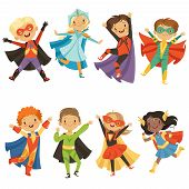 Kids In Superhero Costumes. Funny Characters Isolate On White Background. Comic Character Kids In Su poster